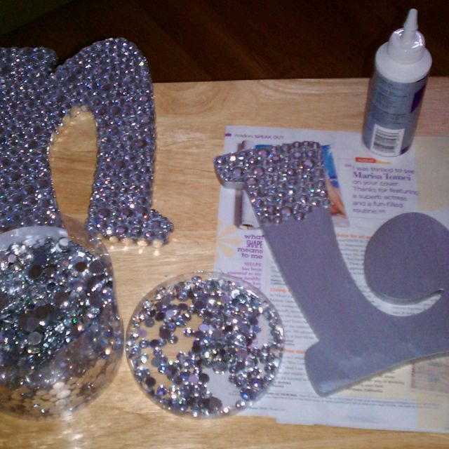 Rhinestoned letters! Dorm room necessity.