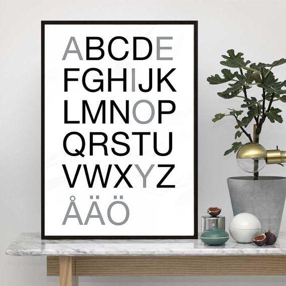 Swedish Alphabet Poster  Scandinavian typography art. Buy printable file
