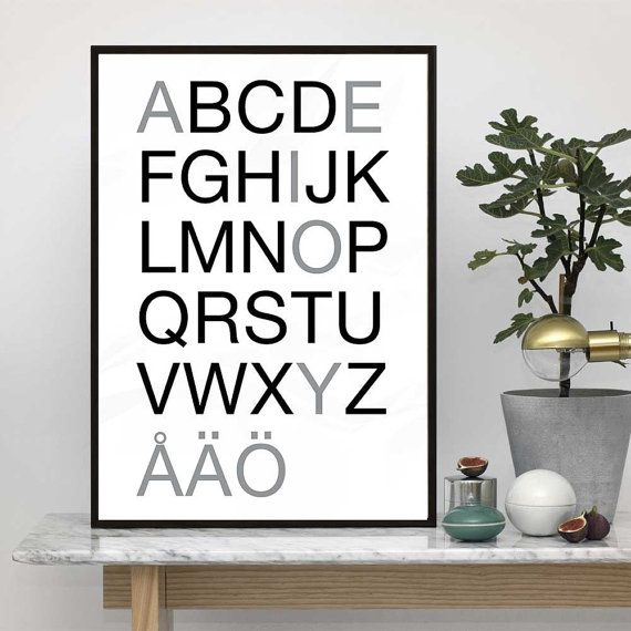 Swedish Alphabet Poster  Scandinavian typography art. Buy printable file