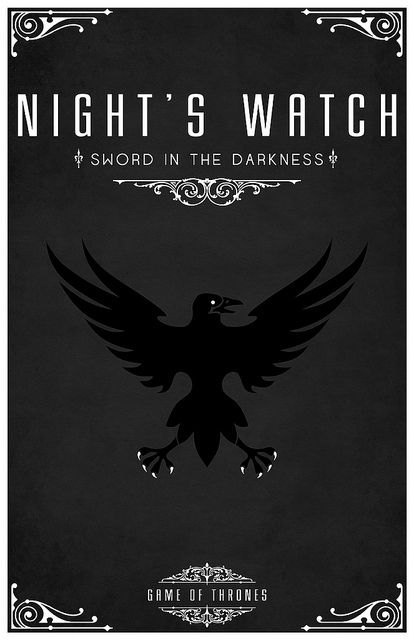 As the Night's Watch don't have a sigil in the books I decided on using a crow as there heraldry due to them often being referenced as 'Crows'.    For their motto I took part of the Oath they take say before becoming part of the Black Brotherhood.