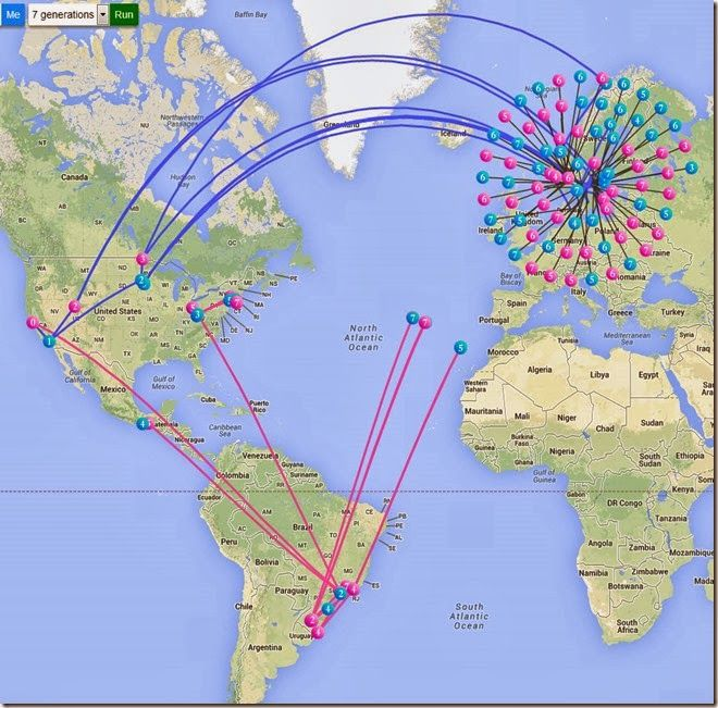 Rootsmapper.com ~ Ya, this is pretty cool! Trace where your ancestors came from and where they landed in America