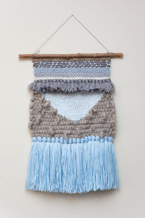 blue frost / wall hanging weaving tapestry with by habitstudio