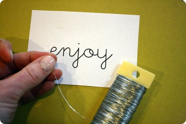 wire words tute, then wrap with fabric strips!