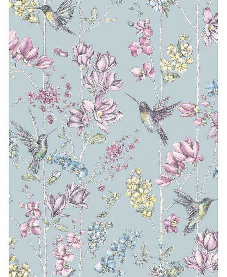 This stunning Hummingbird Wallpaper features a detailed collection of hummingbirds and flowers in beautiful soft pastel tones with subtle mica highlights, set on a black background. Comes in duck egg, soft gold, black and white.