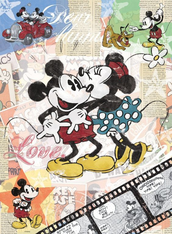 vintage mickey mouse cartoon   Mickey Mouse Vintage Poster Art Print Wallpaper Pictures: