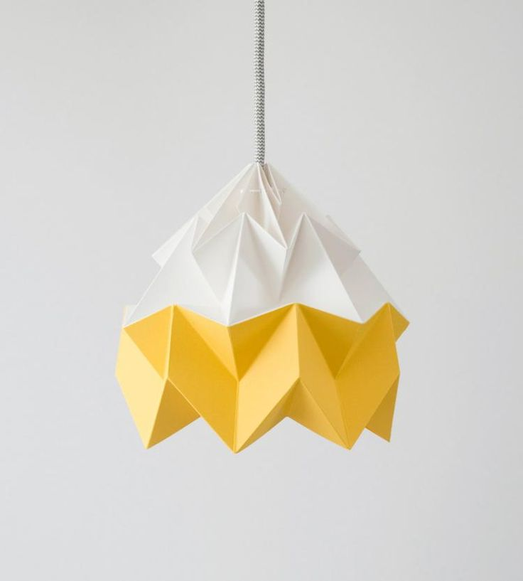 lampe origami bicolore en blanc neige et jaune canaris