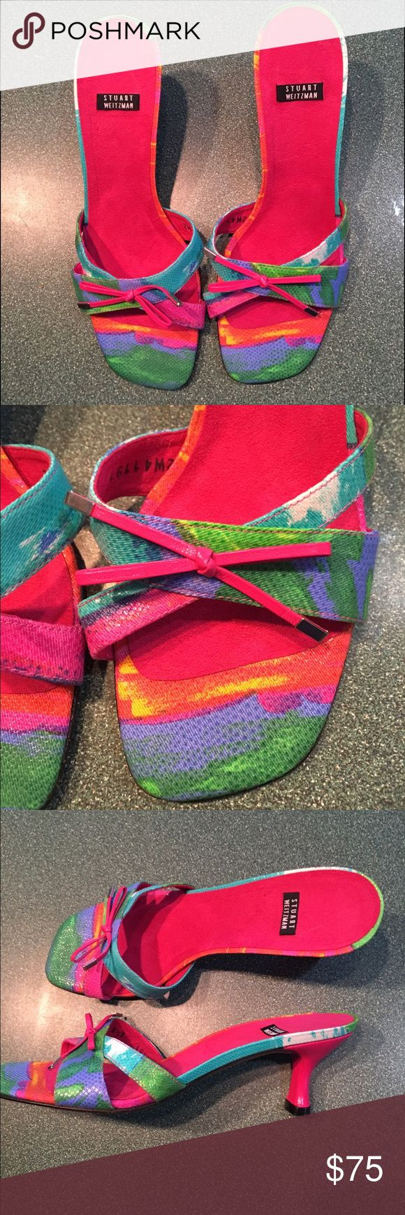 Stuart weitzman multi color slide sandal 6 1/2 new Stuart weitzman multi color sandal new no box size 6 1:2 leather sole pink kitten heel . Perfect ft spring or summer outfits Stuart Weitzman Shoes Sandals