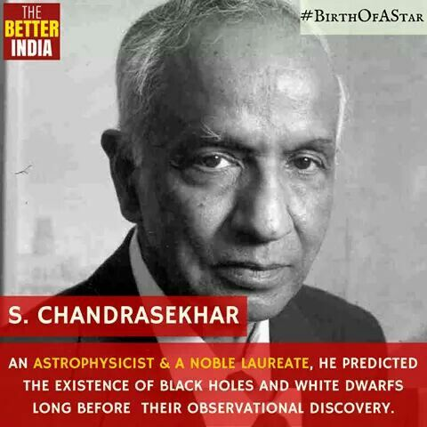 Subrahmanyan Chandrasekhar, is a Noble Prize winning Astrophysicist, who played a key role in our understanding of the structure and evolution of stars. Chandrasekhar limit, which specifies the maximum mass of a stable white dwarf star, is named after him to honour his contribution. He correctly predicted the existence of black holes and white dwarfs long before their observational discovery. Via @TheBetterIndia
