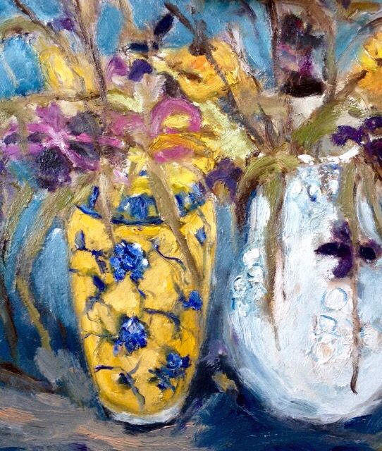 Oil painting flowers and vases 30 cm x 40cm