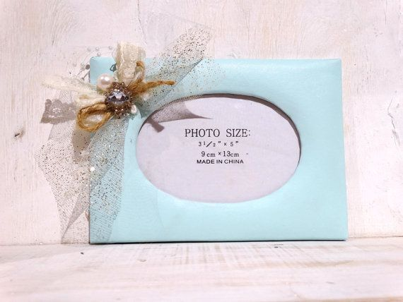 Blue Shabby Chic Photo Frame by GBdesignz on Etsy