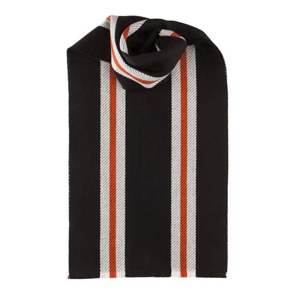 Merino Wool Scarf with Red Stripes in Black