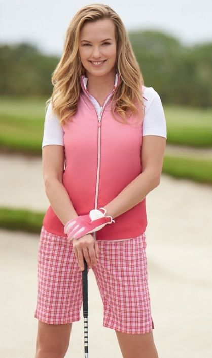Pretty in Pink Greg Norman Ladies Golf Outfits (Shirt & Short). More cool ladies outfits at #lorisgolfshoppe
