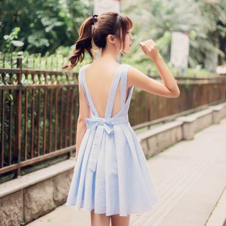Korean fashion V-neck halter waist A word dress
