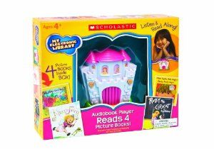 """Scholastic My Electronic Library Castle- Stories for Girls by Scholastic. $29.99. Pre-loaded audio player features 4  popular children's audiobooks. Built-in speaker allows parents to share in the stories with their child. Books included are """"Alice the Fairy"""", """"Ruby the Copycat"""", """"The Little Red Hen""""  and """"When Sophie Gets Angry-Really, Really Angry"""". Includes earphones for private listening. Includes all 4 picture books so children can listen and read along or read separate..."""