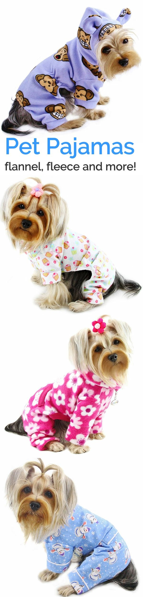 Pajamas for pets are both cute and functional and perfect for puppies, senior pets as well as hairless dogs and cats.