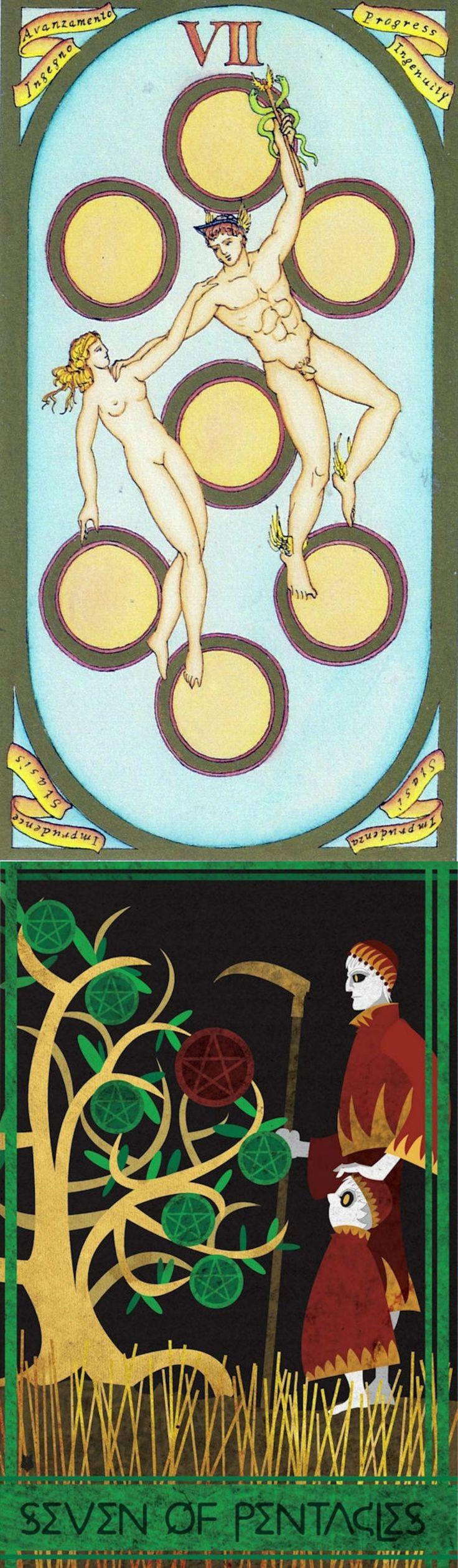 Seven of Pentacles: a little more work left and distraction (reverse). Renaissance Tarot deck and Ellis Tarot deck: tarot live yes no, free dark tarot and tarot web. The best gothic decor and fortune telling cards. #tarotapp #magician #hangedman #chariot #ios #tarotdecks