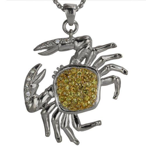 Platinum Yellow Sapphire and Diamond Crab Pendant Da'Carli. $2800.00. 14.76 grams total pendant weight in solid platinum.. This Pendant is set with 35 yellow VS sapphires weighing 0.60 ct. The Pendant is accented with 10 GH-SI diamonds with a total weight of 0.10 ct. (All diamonds 0.75 and up with a color range of D-I are GIA Certified). Call 1(888) 527-9422 for a different combination of gemstones, 18k, Yellow Gold, or Platinum. When calling, please, provide ...