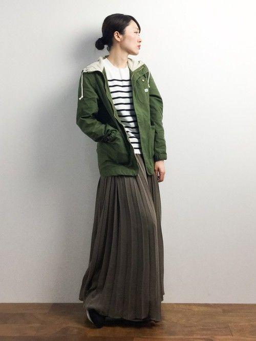 ロングプリーツスカートに合わせも◎ <秋冬ファッション マウンテンパーカー・レディース>