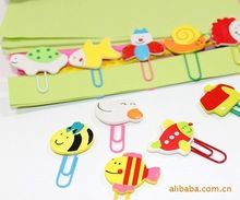 24pcs (12pcs/pack) Office Accessories Cute Stationery Cartoon Wooden Animal Paper Clips Bookmark Clip Free Shipping(China (Mainland))