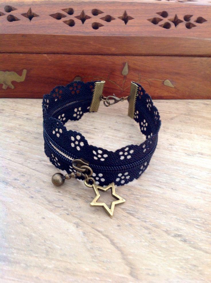 Bracelet à fermeture éclair dentelle noir et son étoile : : Bracelet par bijoux-creations-de-sylvie-poilvet
