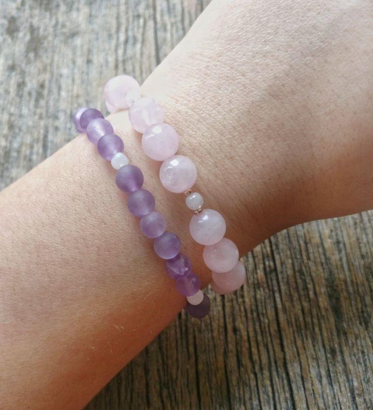Rose Quartz + Lavender Amethyst bracelet stack