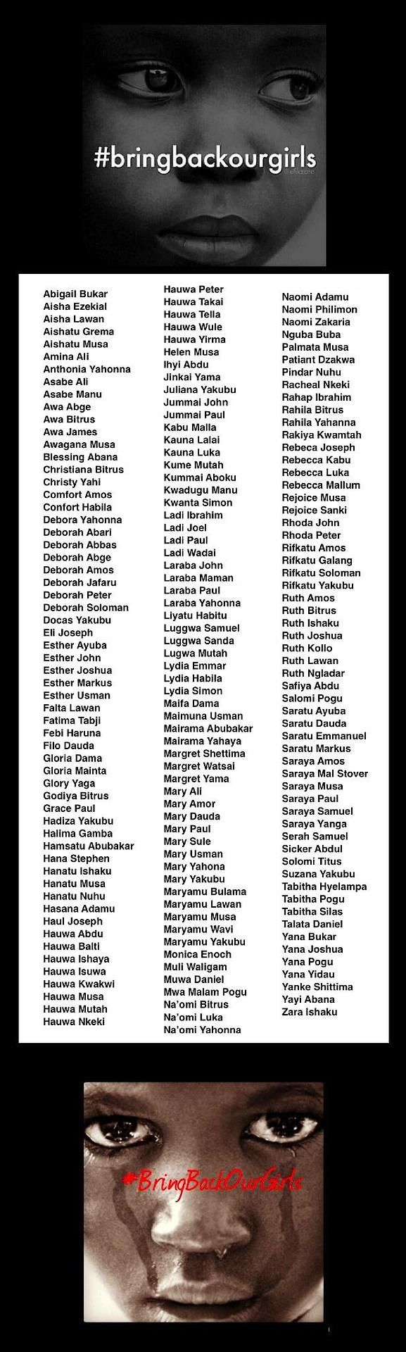 policymic:  These are the names of the 180 still-missing Nigerian girls  Three weeks ago 234 Nigerian schoolgirls were abducted from a boarding school by armed militants suspected to be members of the Boko Haram terrorist group. Some have escaped, but 180 remain lost. Read more |Follow policymic
