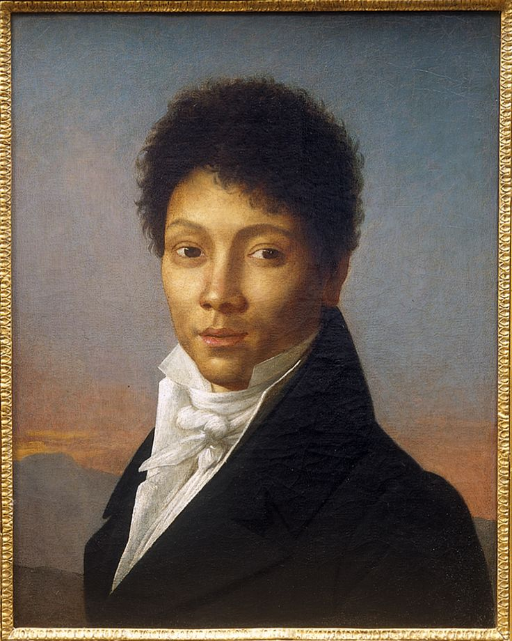 """The gallery where this was sold only says: """"A Mulatto Gentleman, French Empire circa 1800 by Fabre."""" The cut of his coat, with the heavy notched collar, means it probably wasn't much later than 1810. via MedievalPOC tumbler, which you would probably enjoy browsing"""