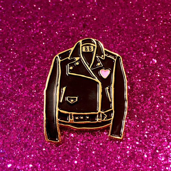 Classic Leather Jacket Enamel Pin by BanannaBones on Etsy
