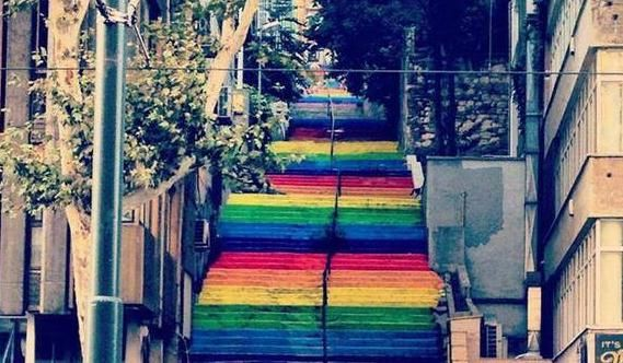 Colorful stairs in Cihangir