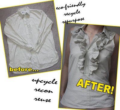 Ruffled Shirt DIY: Blouses, Fashion Style, Dresses Shirts, Men Shirts, Kids Crafts, Men'S Shirts, Ruffles Tops, Ruffles Shirts, Refashion