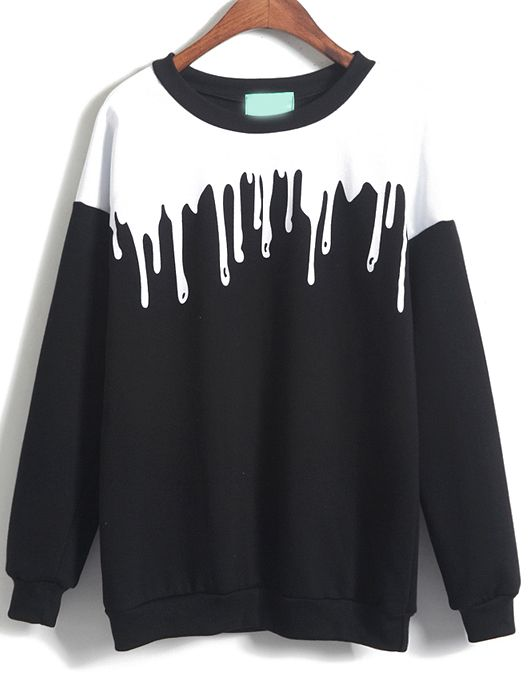Sweatshirt couleur contraste décontracté - Noir 13.12