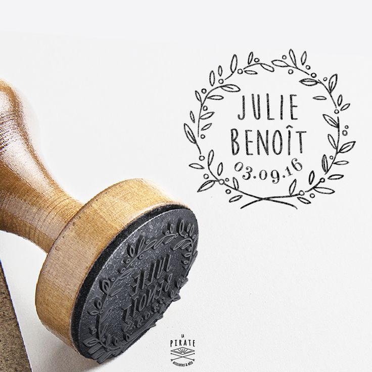 Tampon Mariage Champêtre Personnalisé Couronne Rameau d'Olivier Provence. Livraison gratuite en France