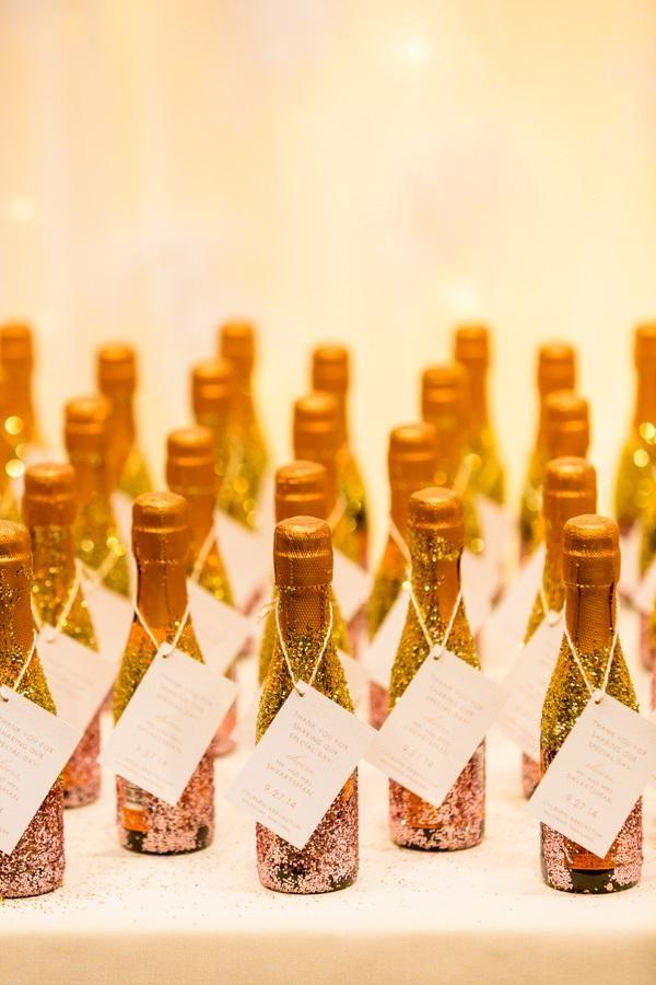 glitter covered champagne splits for wedding favors
