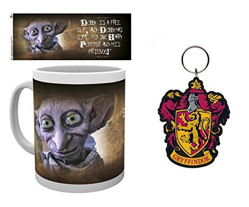 Set: Harry Potter, Dobby Photo Coffee Mug (4x3 inches) And 1 Harry Potter, Keychain Keyring For Fans (3x2 inches)