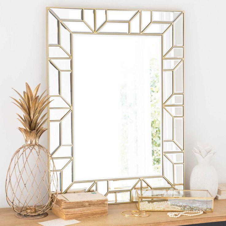 Grafischer goldfarbener Spiegel 60x80cm DIANNE