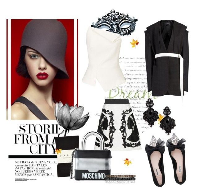 """Black and White"" by nahed-samir ❤ liked on Polyvore featuring Masquerade, Tasha, Joseph, Falke, Dolce&Gabbana, Roland Mouret, Moschino, Miu Miu, Effy Jewelry and outfit"