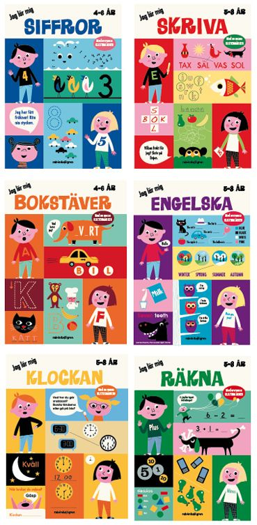 Swedish book covers for kids to do and learn by Ingela P Arrhenius