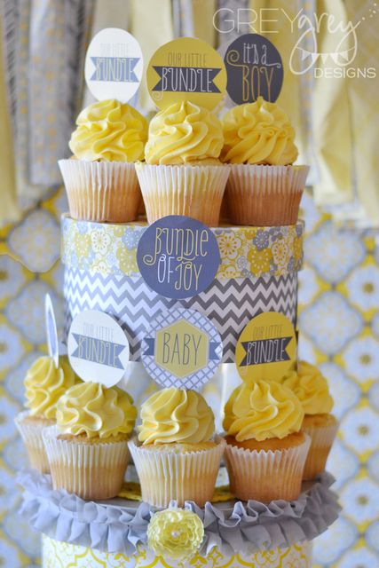 Cupcake display at a Yellow & Grey Baby Shower!  See more party ideas at CatchMyParty.com!