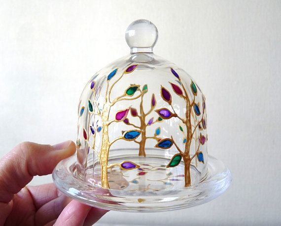 Small Hand painted Glass Cloche with Tray DomeHemon by LamPamPam