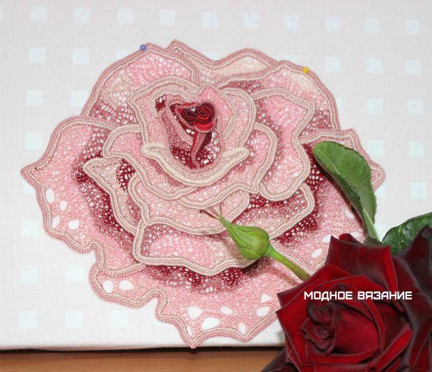 Красивая роза при помощи шнура гусенички - Crochet Modnoe Vyazanie