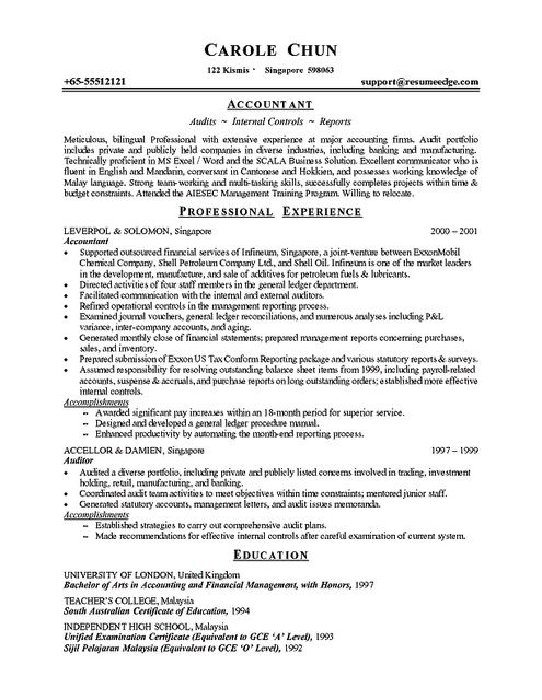 50 best Resume and Cover Letters images on Pinterest Sample - auditor resume example