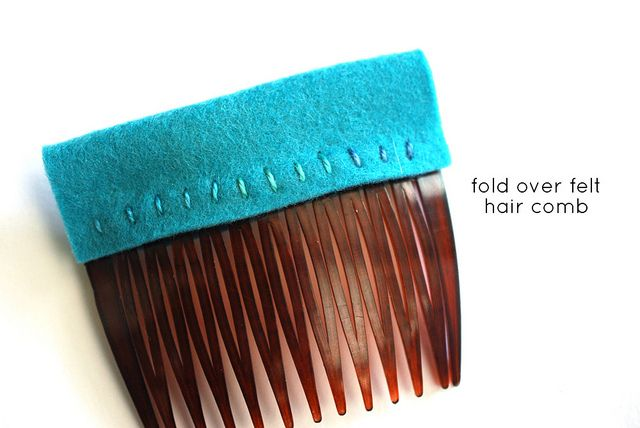 How-To: Fold Over Felt Hair Comb: Crafts Ideas, Felt Crafts, Diy Crafts, Diy Felt, Crafty Inspiration, Felt Hair, Crafty Diy, Hair Inspiration, Hair Combs