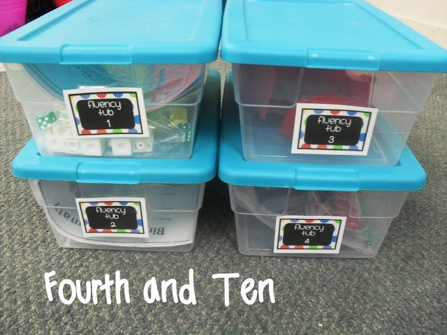 """Fourth and Ten: Fluency Intervention Tubs""  Great ideas!  Reminds me...I know a teacher who uses Readers Theater successfully for fluency and more in a small group center (with a tub of scripts).  He trades out the scripts periodically or adds new ones just like the games are switched in these tubs.  (For free scripts to help build fluency see:  www.ReadersTheaterAllYear.com .)"