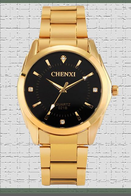 Fq-169 Gold Stainless Steel Men's Luxury Wrist Watches for Man,Classic Business Series,Black Face $14.99 & FREE Returns  #LuxuryDiamondWatches #LuxuryWatches