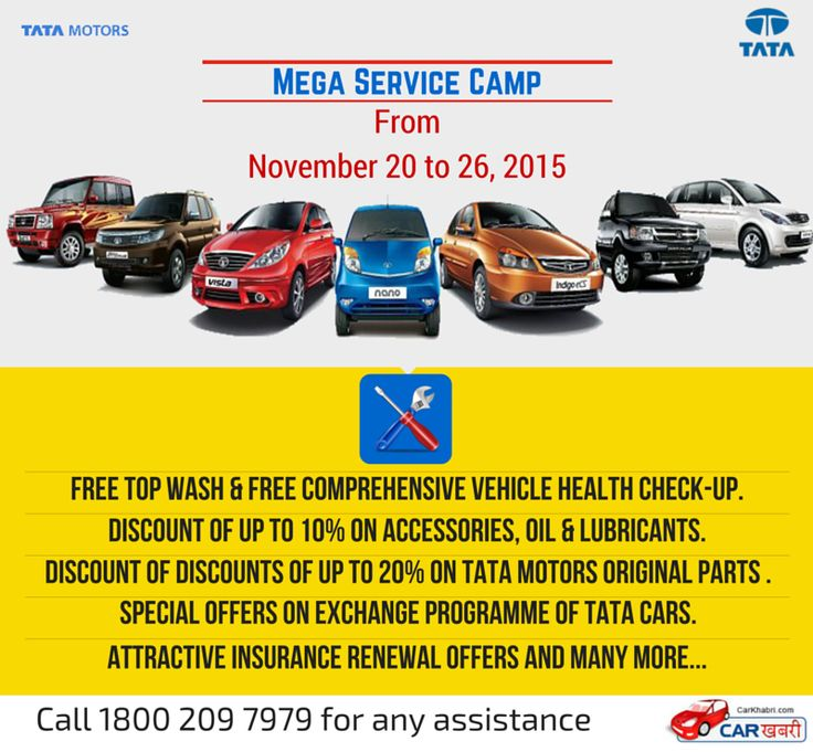 Tata Motors announces Mega Service Camp commencing from November 20, 2015 To read more please visit here @http://goo.gl/FI91Yh