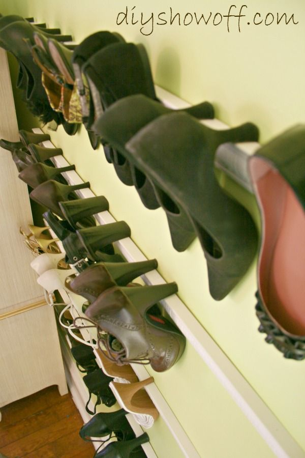 Using trim/molding to store high heels against your wall.  Too clever! Never would have thought to do this.