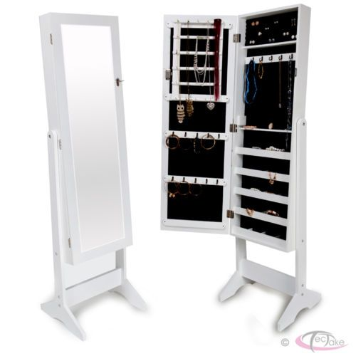 Large Floor Standing Jewelry Cabinet Storage Box Organiser with Mirror white | eBay