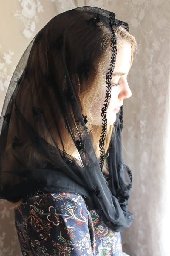 Evintage Veils~ Sheer Black Embroidered Our Lady Vintage Inspired Lace Chapel Veil Mantilla Infinity Latin Mass