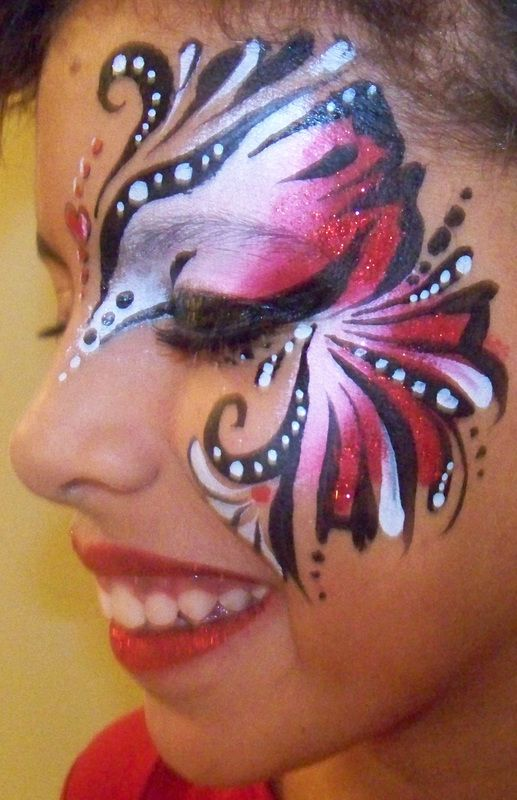 Red White Black Erfly Facepaint Face Paint Designs Painting Mask