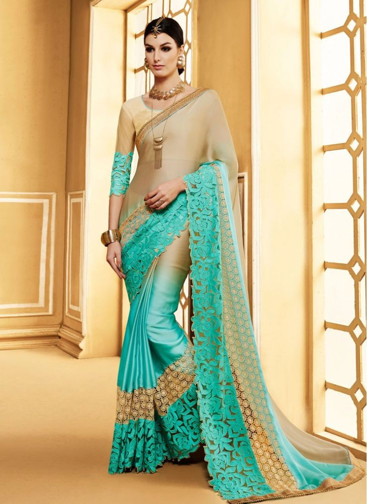 Radiant Beige and Sea Green Patch Border Satin Fabulous Party Wear Saree